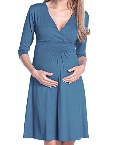 Happy Mama Damen Umstandskleid Festlicher Stretchkleid V-Ausschnitt 282p (Blau Jeans, EU 50, 4XL) -