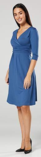 Happy Mama Damen Umstandskleid Festlicher Stretchkleid V-Ausschnitt 282p (Blau Jeans, EU 44, 2XL) -