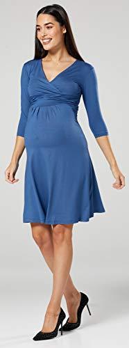 Happy Mama Damen Umstandskleid Festlicher Stretchkleid V-Ausschnitt 282p (Blau Jeans, EU 42, XL) - 5