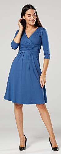 Happy Mama Damen Umstandskleid Festlicher Stretchkleid V-Ausschnitt 282p (Blau Jeans, EU 42, XL) - 2