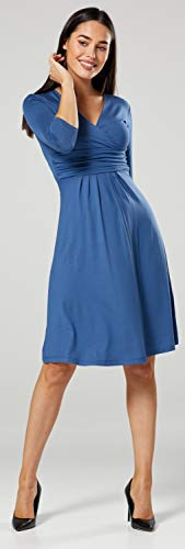 Happy Mama Damen Umstandskleid Festlicher Stretchkleid V-Ausschnitt 282p (Blau Jeans, EU 42, XL) - 4