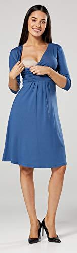 Happy Mama Damen Umstandskleid Festlicher Stretchkleid V-Ausschnitt 282p (Blau Jeans, EU 42, XL) -