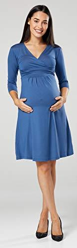 Happy Mama Damen Umstandskleid Festlicher Stretchkleid V-Ausschnitt 282p (Blau Jeans, EU 42, XL) - 7