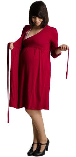 Mija - Umstandskleid / Elegentes Kleid / Shirtkleid / Stillkleid Schwangerschaftskleid 3062 (M / L / XL, Wine Rot)