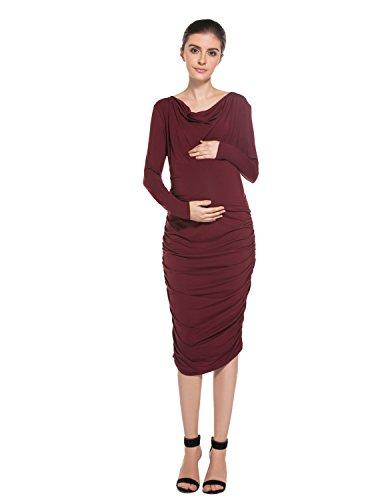 MODETREND Damen Umstandskleider Mama Elegant Kleider mit Piles Kragen V-Ausschnitt Langen Ärmeln Festlicher Stretch Casualkleider Abendkleid