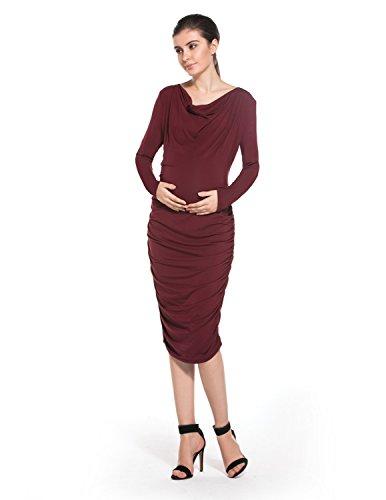 MODETREND Damen Umstandskleider Mama Elegant Kleider mit Piles Kragen V-Ausschnitt Langen Ärmeln Festlicher Stretch Casualkleider Abendkleid -