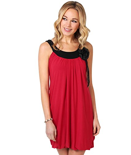 KRISP Damen Tunika Minikleid Retro 20er Jahre Stil Swing_(3565-RED-14)