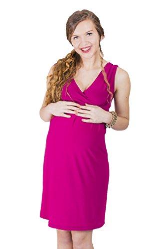 Nursing Dress Umstandskleid / Elegentes Kleid / Schwangerschaftskleid (M (38-40), fuchsia)