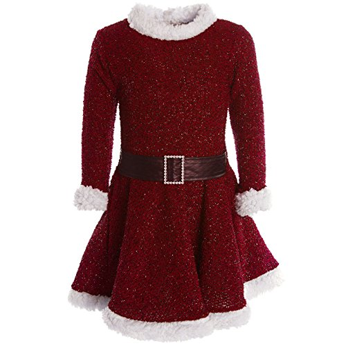Mädchen Kinder Spitze Winter Kleid Peticoatkleid Festkleid Lang Arm Kostüm 20785, Farbe:Rot;Größe:140