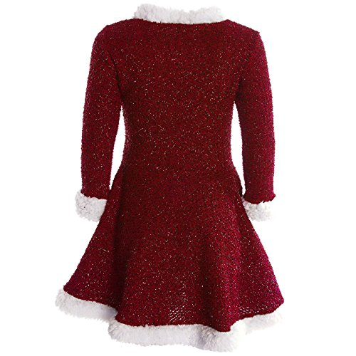 Mädchen Kinder Spitze Winter Kleid Peticoatkleid Festkleid Lang Arm Kostüm 20785, Farbe:Rot;Größe:140 -
