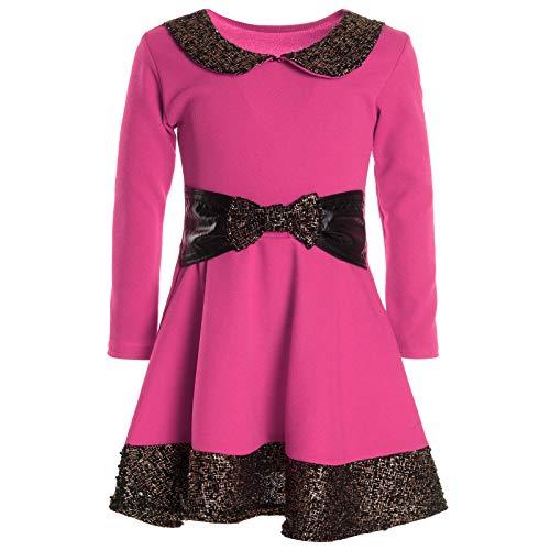 Mädchen Kinder Spitze Winter Kleid Peticoatkleid Festkleid Lang Arm Kostüm 20914, Farbe:Pink;Größe:128