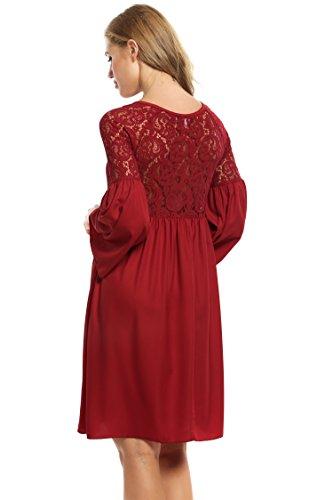 Zeagoo Damen Spitzenkleid Langarm Festliches Kleid Cocktail Kurz A Linie Partykleid (EU 44(Herstellergröße:XXL), Rot) - 3