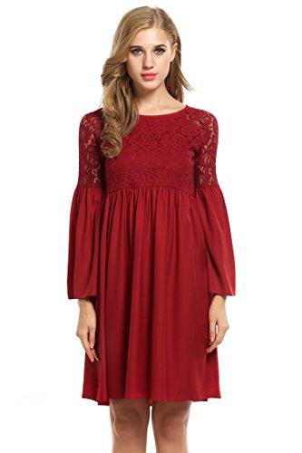 Zeagoo Damen Spitzenkleid Langarm Festliches Kleid Cocktail Kurz A Linie Partykleid (EU 44(Herstellergröße:XXL), Rot) - 4