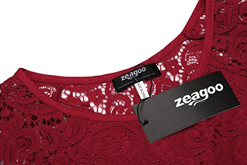 Zeagoo Damen Spitzenkleid Langarm Festliches Kleid Cocktail Kurz A Linie Partykleid (EU 44(Herstellergröße:XXL), Rot) - 2