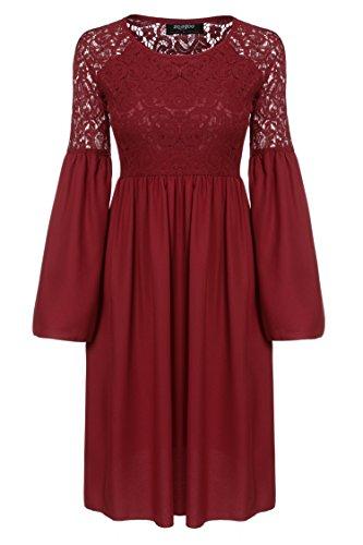 Zeagoo Damen Spitzenkleid Langarm Festliches Kleid Cocktail Kurz A Linie Partykleid (EU 44(Herstellergröße:XXL), Rot) - 5