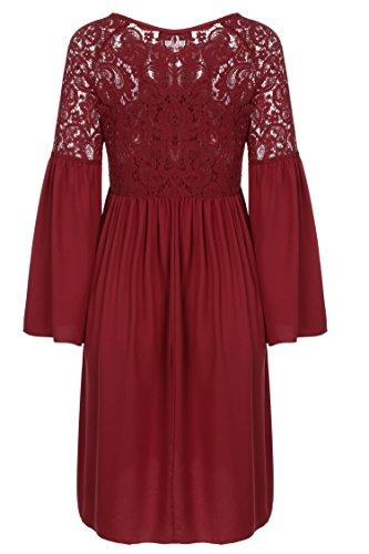 Zeagoo Damen Spitzenkleid Langarm Festliches Kleid Cocktail Kurz A Linie Partykleid (EU 44(Herstellergröße:XXL), Rot) - 7