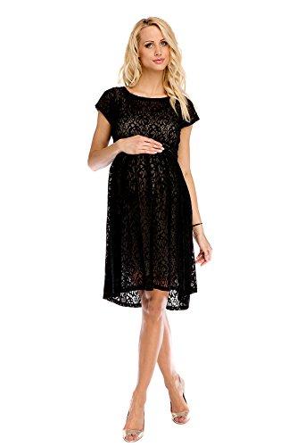 My Tummy Mutterschafts Kleid Umstands Kleid Scarlett Spitze schwarz-beige XXL (XX-large)