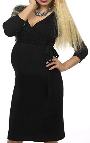 Nursing Dress Umstandskleid / Elegentes Kleid / Schwangerschaftskleid schwarz XL (42-44)
