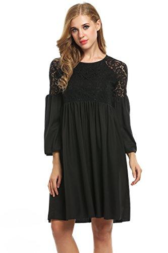 Zeagoo Damen Spitzenkleid Langarm Festliches Kleid Cocktail Kurz A Linie Partykleid (EU 38(Herstellergröße:M), Schwarz)