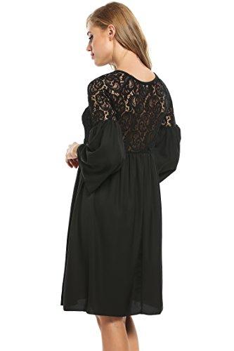 Zeagoo Damen Spitzenkleid Langarm Festliches Kleid Cocktail Kurz A Linie Partykleid (EU 38(Herstellergröße:M), Schwarz) - 2