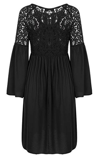 Zeagoo Damen Spitzenkleid Langarm Festliches Kleid Cocktail Kurz A Linie Partykleid (EU 38(Herstellergröße:M), Schwarz) - 4