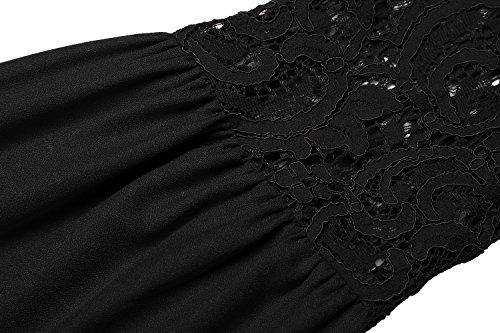 Zeagoo Damen Spitzenkleid Langarm Festliches Kleid Cocktail Kurz A Linie Partykleid (EU 38(Herstellergröße:M), Schwarz) - 6