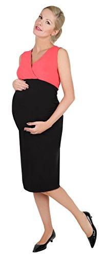 Be! Mama 2in1 Wende-Kleid, Umstandskleid, Stillkleid, Modell: DOUBLE, schwarz-koralle, L