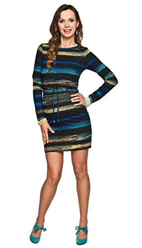 2in1 elegantes und bequemes Umstandskleid / Stillkleid, Modell: MINO langarm, schwarz-gelb-türkis, M