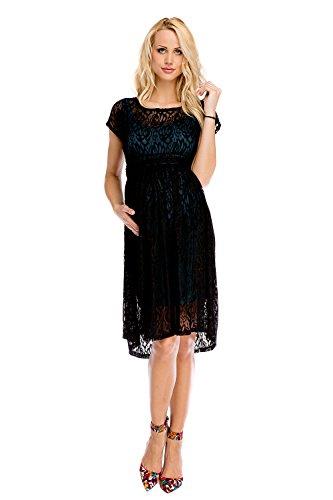 My Tummy Mutterschafts Kleid Umstands Kleid Scarlett schwarz-grün Spitze M (medium)