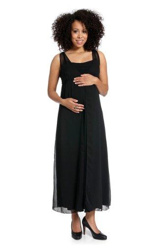 Que Sera Damen Umstandsmode langes Kleid Felicita Schwarz Größe 38
