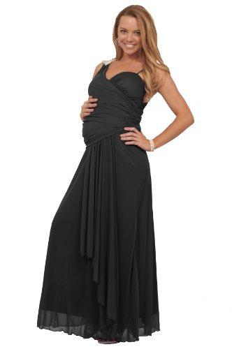 Langes Chiffon Schwangerschaftskleid mit V-Ausschnitt Strass Schulter Pad