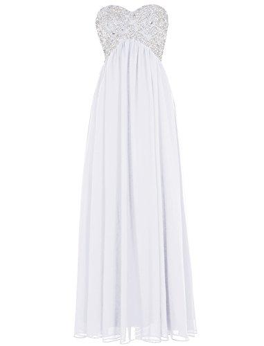 Dressystar Umstandskleid Damen Schnürung Lang Abendkleid Stickerei Pailletten Weiß 38