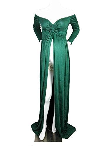 D-Pink Schwangere Umstandskleid Festlich Elastizität V-Ausschnitt Cocktailkleid Mutterschutz Brautkleid Kleider (Grün)