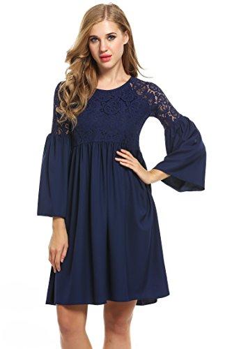 Zeagoo Damen Spitzenkleid Langarm Festliches Kleid Cocktail Kurz A Linie Partykleid (EU 44(Herstellergröße:XXL), Blau)