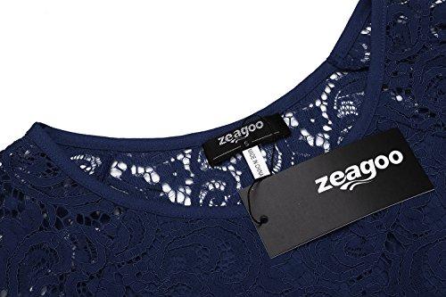 Zeagoo Damen Spitzenkleid Langarm Festliches Kleid Cocktail Kurz A Linie Partykleid (EU 44(Herstellergröße:XXL), Blau) - 5