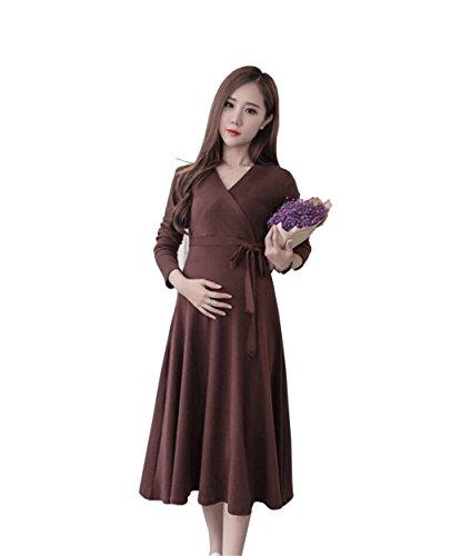 E Support™ Damen Umstandskleid Langarm Festlicher Stretchkleid V-Ausschnitt A-Linie Cocktailkleid für Schwangere