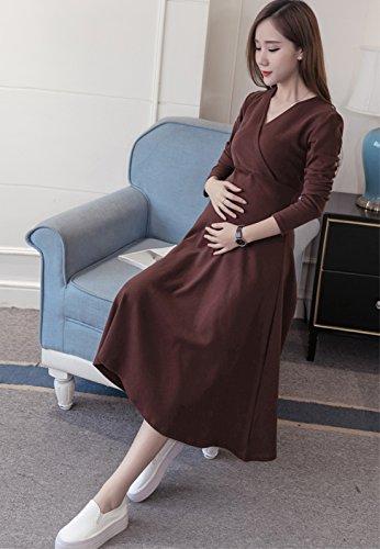 E Support™ Damen Umstandskleid Langarm Festlicher Stretchkleid V-Ausschnitt A-Linie Cocktailkleid für Schwangere -