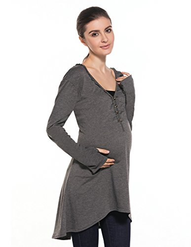 MODETREND Umstandskleider Umstandsbluse Umstandsshirt Mama Kleider Langen Ärmeln V-Ausschnitt Stillen Blusenkleider Casualkleider -