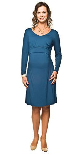 Elegant und bequem - Umstandskleid, Stillkleid, Modell: MOLITA MUM, langarm, indygo, XL
