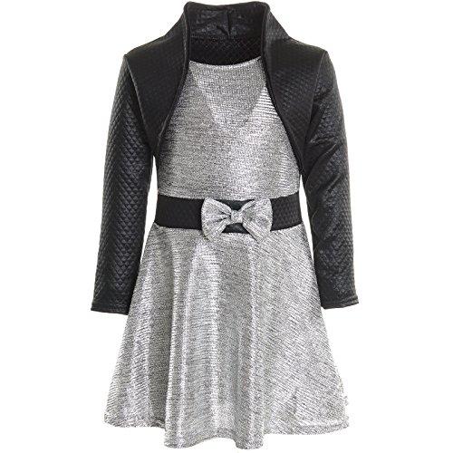 BEZLIT Mädchen Kinder Spitze Winter Kleid Peticoatkleid Festkleid Lang Arm Kostüm 20796, Farbe:Silber;Größe:116