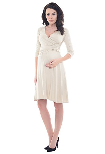Purpless Maternity Herrlich V-Ausschnitt Kleid Mutterschaft Kleidung Top 4400 (42 (UK 14), Beige) - 3