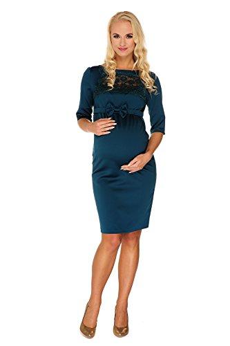 My Tummy Mutterschafts Kleid Umstands Kleid Marion grün Spitze Schleife L (large)