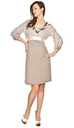 Elegantes und bequemes Umstandskleid, Brautkleid, Hochzeitskleid für Schwangere Modell: Dolce, beige, L