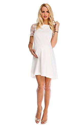 My Tummy Mutterschafts Kleid Umstands Kleid Julia mit Spitze A-Linie Elegant Hochzeit M (medium)