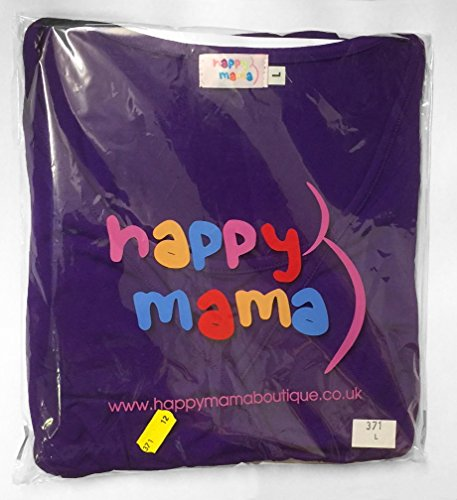 Happy Mama Damen Umstandskleid Festlicher Stretchkleid V-Ausschnitt 282p (Nicht-Gerade Weiss, 46) -