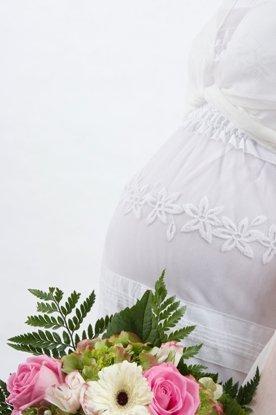 Linique Hochzeitskleid für werdende Mütter Kleid Brautmode, 44, mit Bolero -