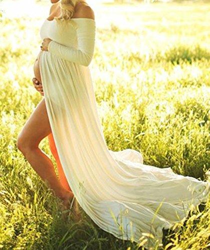 D-Pink Damen Schwanger Lange Chiffon kleider Mutterschaft Fotografie Kleidung Maxikleid (Weiß) - 4