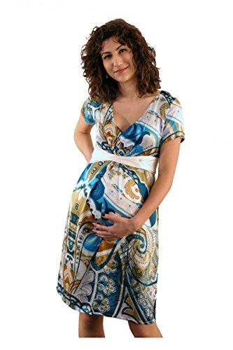 Que Sera Damen Umstandsmode Kleid Paris Print Blau Gold Größe 36