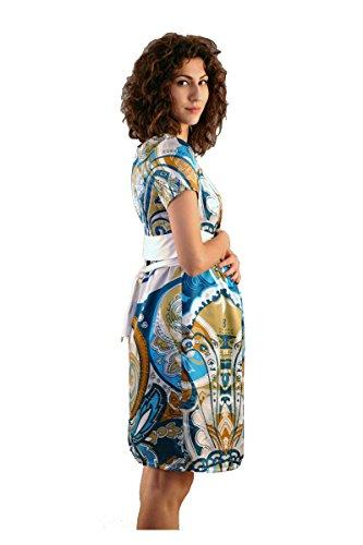 Que Sera Damen Umstandsmode Kleid Paris Print Blau Gold ...