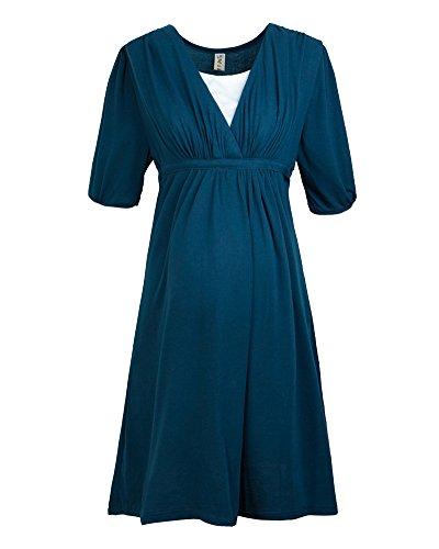 ZongSen Damen Umstandskleid Reine Farbe Stretchkleid V-Ausschnitt A-Line Kleid Peacock Blau XL